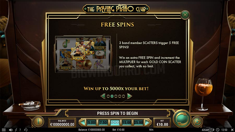 paying piano club slot