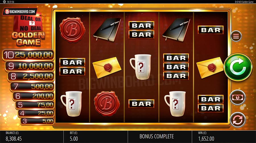 deal or no deal golden game slot