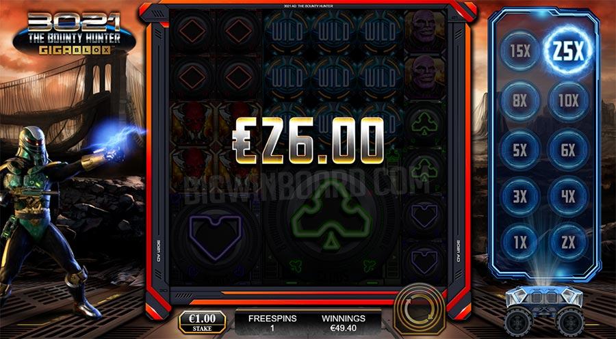 3021 AD The Bounty Hunter Gigablox slot